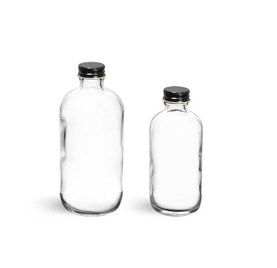 Flint Glass Lab Bottles w/ Black Caps