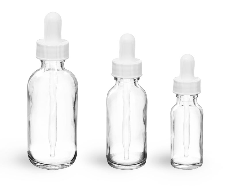Glass Bottles, Clear Glass Rounds with White Bulb Glass Droppers
