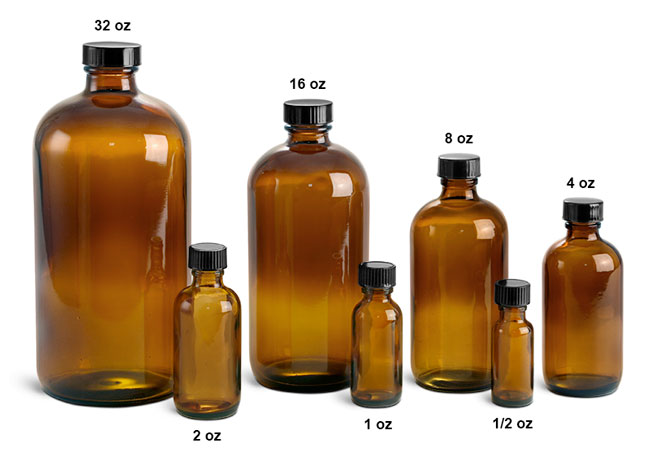 Amber Glass Laboratory Round Bottles w/ Black Cone Lined Caps