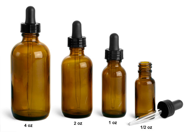 Glass Laboratory Bottles, Amber Rounds with Glass Droppers