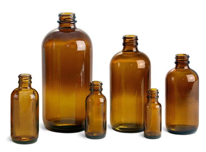 Glass Laboratory Bottles, Amber Glass Boston Rounds (Bulk), Caps Not Included