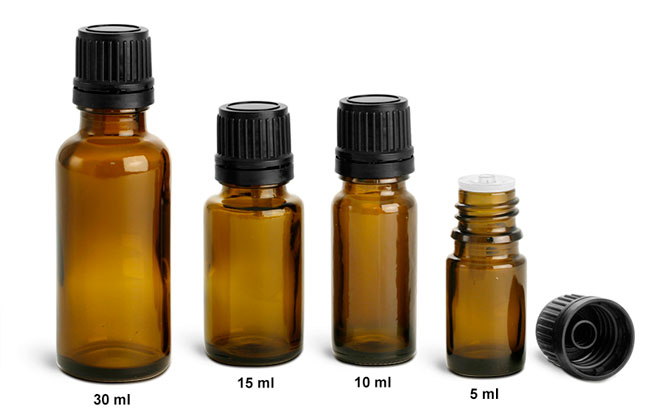 Glass Laboratory Bottles, Amber Euro Droppers w/ Black Tamper Evident Caps & Orifice Reducers