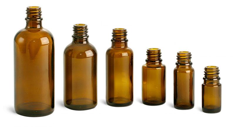 Laboratory Glass Bottles, Amber Glass Euro Dropper Bottles (Bulk), Caps NOT Included