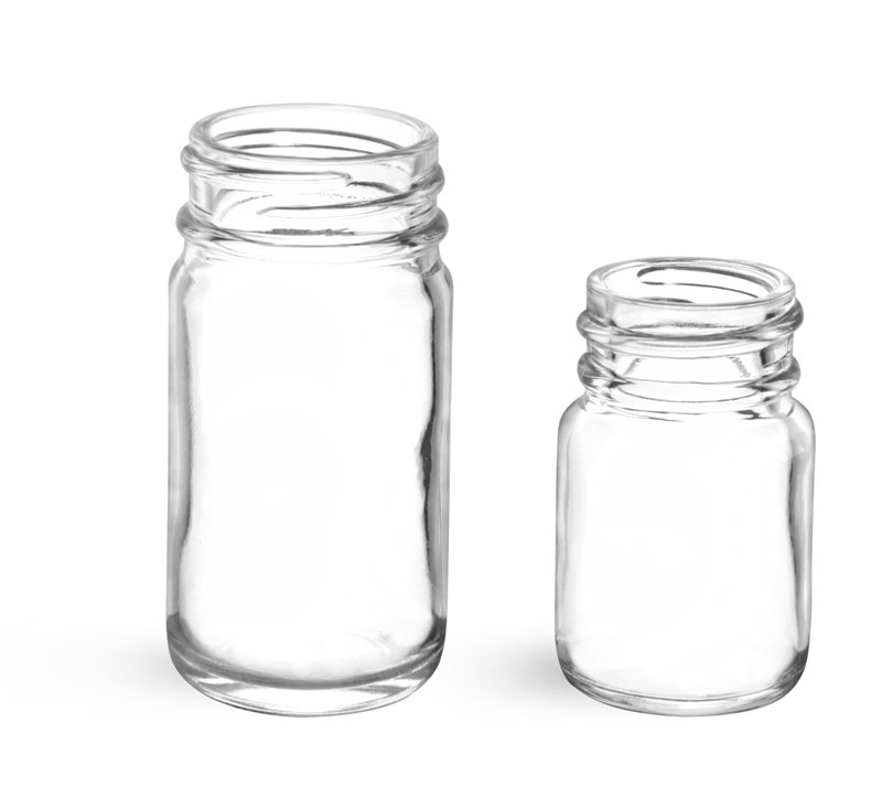 Glass Laboratory Bottles, Clear Glass Wide Mouth Pharmaceutical Rounds (Bulk)