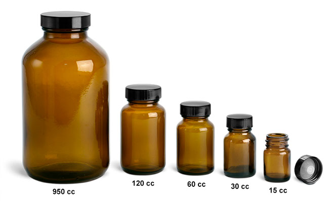 Amber Glass Rounds Laboratory Bottles w/ Black Phenolic Lined Caps