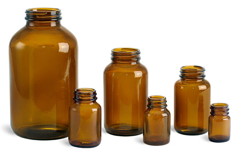 Glass Laboratory Bottles, Amber Glass Wide Mouth Pharmaceutical Rounds (Bulk), Caps Not Included