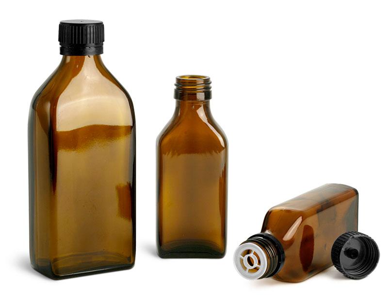 Amber Glass Lab Bottles w/ Black Caps