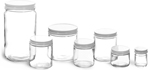 Glass Lab Jars w/ White Metal Plastisol Lined Caps