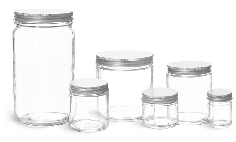 Clear Glass Laboratory Jars with Lined Aluminum Caps