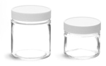 Clear Glass Jars w/ White Teflon Faced PE Lined Caps