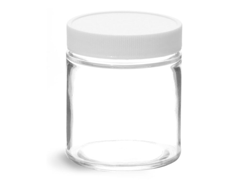 Glass Jars, Clear Glass Jars w/ White Teflon Faced Lined Caps
