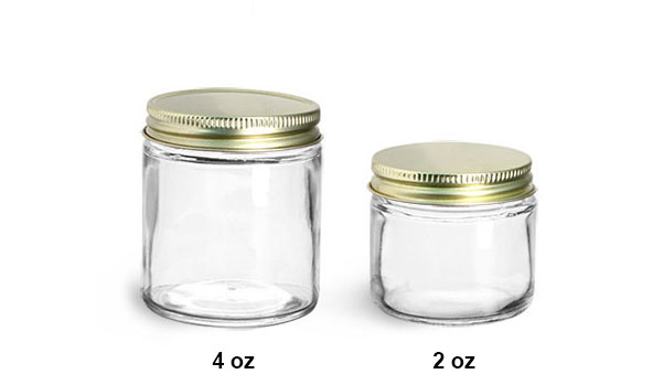 Glass Laboratory Jars, Clear with Gold Plastisol Lined Caps