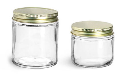 Clear Glass Lab Jars w/ Gold Plastisol Lined Caps