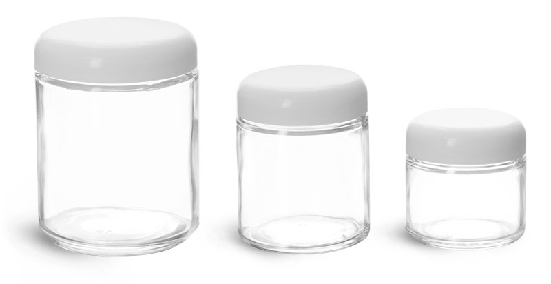 Glass Laboratory Jars, Clear Straight Sided Jars with White Dome Lined Caps