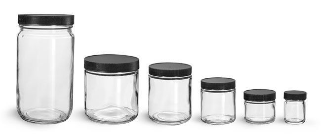 32 oz  Clear Glass Jars with Black Ribbed PE Lined Caps