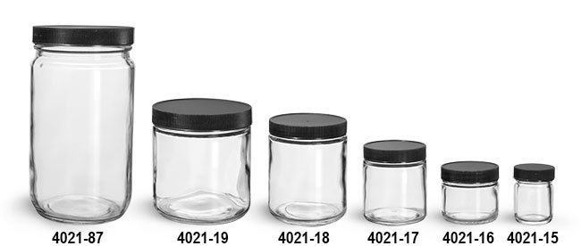 Glass Jars, Clear Glass Jars w/ Black Ribbed PE Lined Caps
