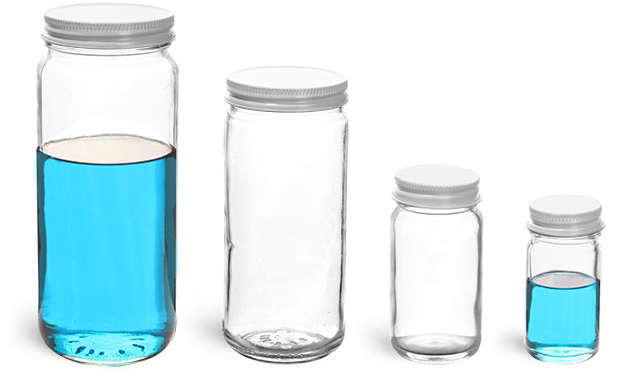 Clear Glass Paragon Lab Jars w/ White Caps