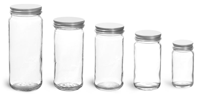Clear Glass Lab Paragon Jars w/ Lined Aluminum Caps