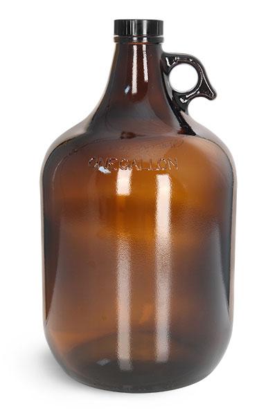 Amber Glass Jug w/ Black Cap