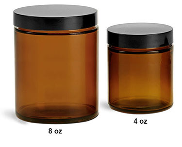 Glass Jars, Amber Glass Jars w/ Phenolic Teflon Lined Caps