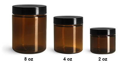 Laboratory Glass Jars, Amber Glass Straight Sided Jars w/ Black Phenolic Lined Caps