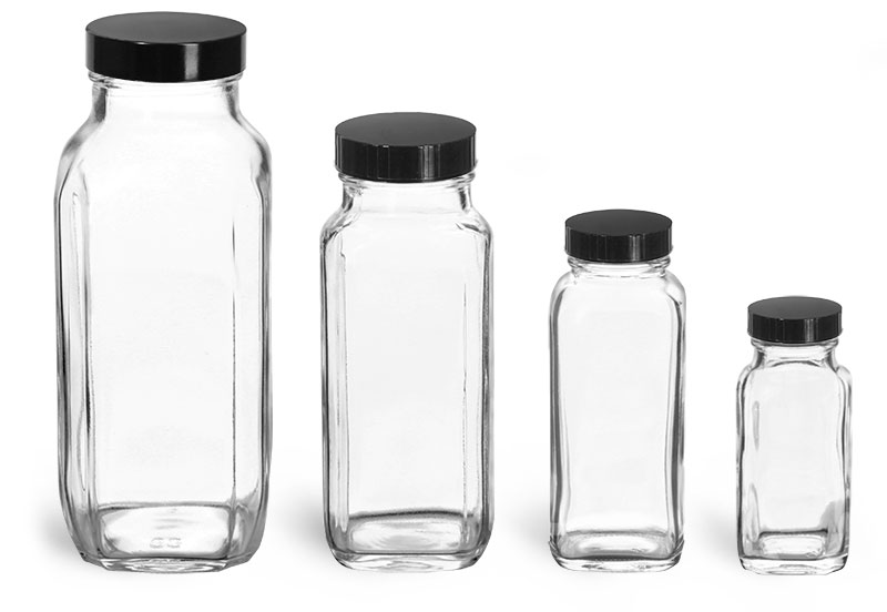 French Square Glass Lab Bottles w/ Black Caps