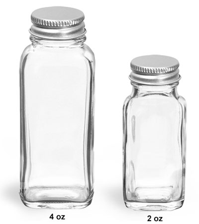 Glass Laboratory Bottles, Clear Glass French Squares w/ Lined Aluminum Caps