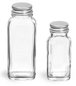 French Square Glass  Lab Bottles w/ Caps