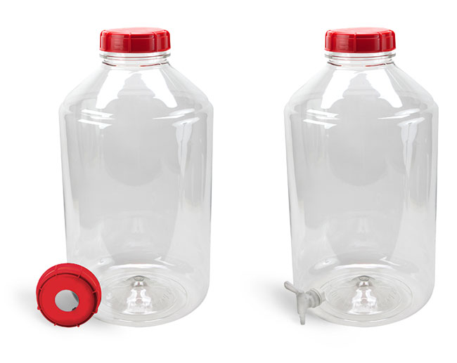 Plastic Carboys, 6 Gal Clear PET Carboys and Accessories