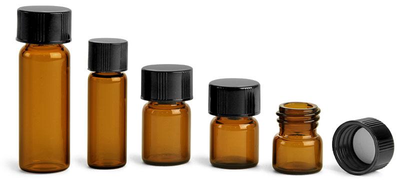 Glass Lab Vials, Amber Glass Lab Vials w/ Black Phenolic PV Lined Caps
