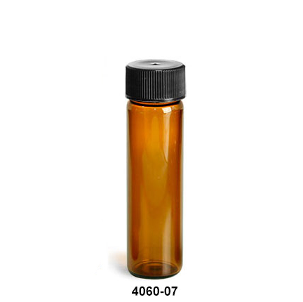 Glass Lab Vials, Amber Glass Lab Vials w/ Black Foil Lined Polypropylene Caps