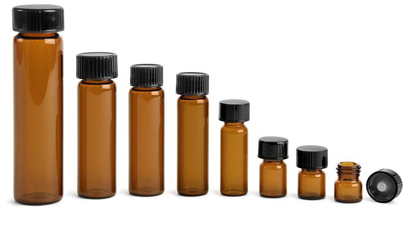 Glass Lab Vials, Amber Glass Lab Vials w/ Black Phenolic Cone Lined Caps