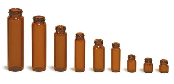 Glass Lab Vials, Amber Glass Vials (Bulk), Caps Not Included