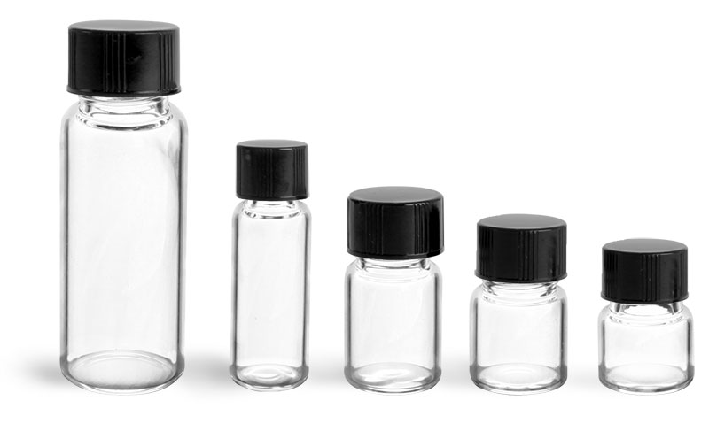 1/2 dram  Clear Glass Vials with Black Phenolic PV Lined Caps