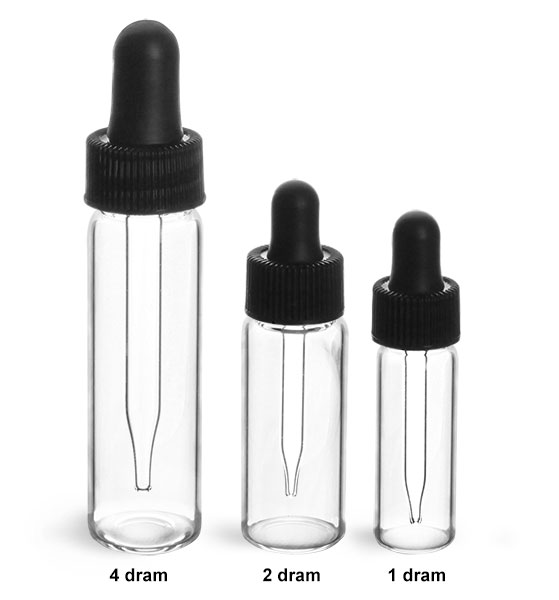 Glass Lab Vials, Clear Glass Lab Vials w/ Black Bulb Glass Droppers