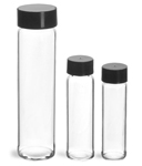 Glass Lab Vials, Clear Glass Lab Vials w/ Black Foil Lined Polypropylene Caps