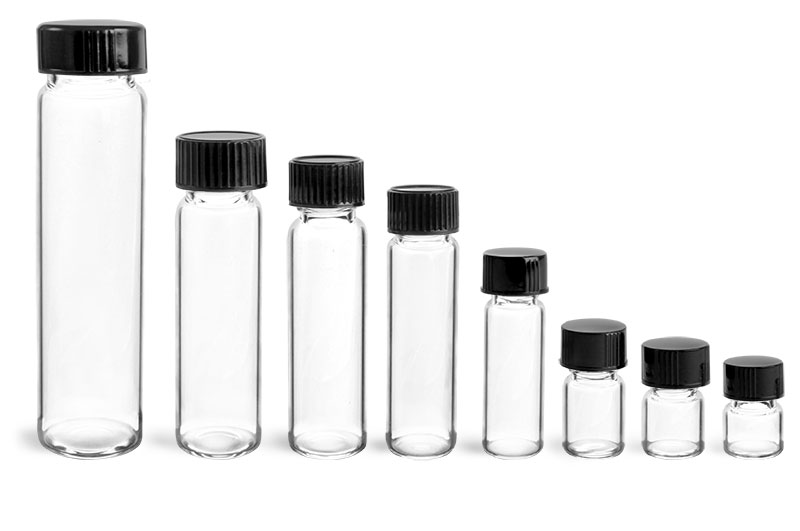 Glass Lab Vials, Clear Glass Lab Vials w/ Black Phenolic Cone Lined Caps