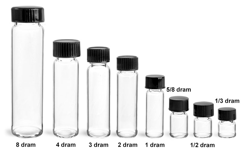 Glass Lab Vials, Clear Glass Lab Vials w/ Black Phenolic Cone Lined Caps