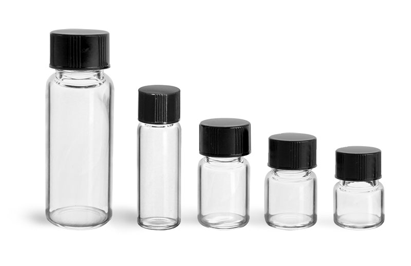 Glass Lab Vials, Clear Glass Lab Vials w/ Black Phenolic PV Lined Caps