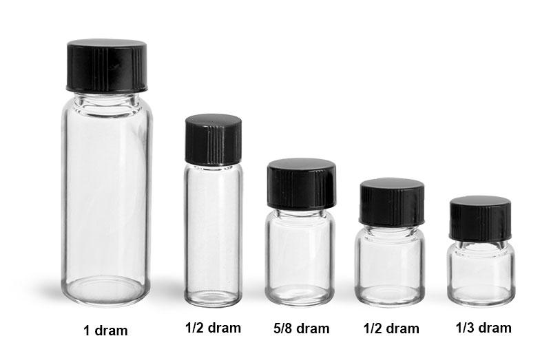 Glass Lab Vials, Clear Glass Lab Vials w/ Black Phenolic PV Lined Caps