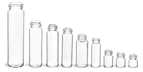 Clear Glass E-C Sample Vials, 1.2 ml - 8 ml (Caps Not Included)