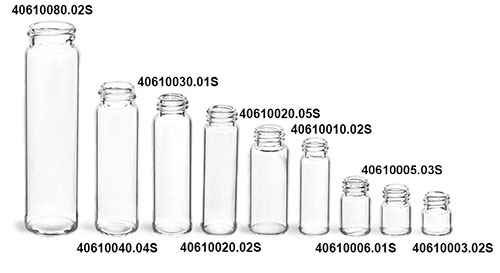 Glass Lab Vials, Clear Glass E-C Sample Lab Vials w/ No Caps Included (1.2 ml - 8 Ml)
