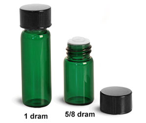 Glass Lab Vials, Green Glass Lab Vials w/ Orifice Reducers & Black Phenolic PV Lined Caps