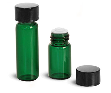 Glass Vials, Green Glass Vials w/ Orifice Reducer & Black Phenolic PV Lined Caps
