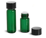 Glass Lab Vials, Green Glass Lab Vials w/ Orifice Reducers & Black Phenolic PV Lined Caps