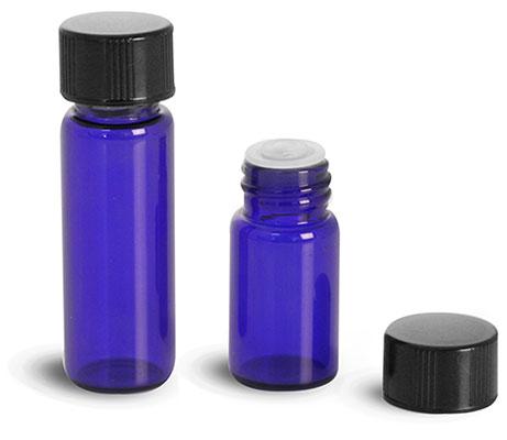 Glass Lab Vials, Blue Glass Lab Vials w/ Orifice Reducers & Black Phenolic PV Lined Caps
