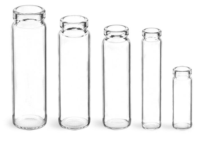 Glass Lab Vials, Clear Glass Lip Vials (Bulk), Caps Not Included