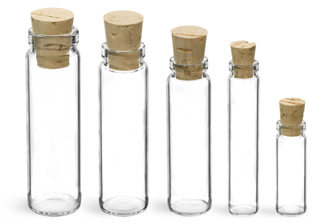 Glass Lab Vials, Clear Lip Lab Vials w/ Cork Stoppers