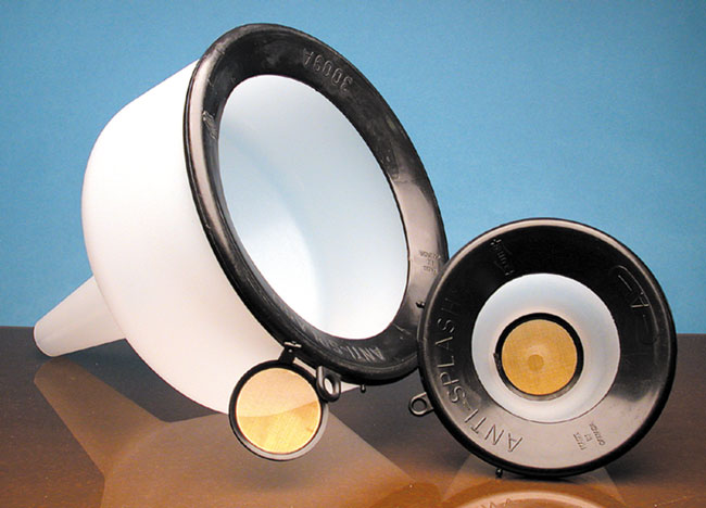 Plastic Funnels, LDPE Anti-Splash Plastic Funnels w/ Bronze Mesh Filter