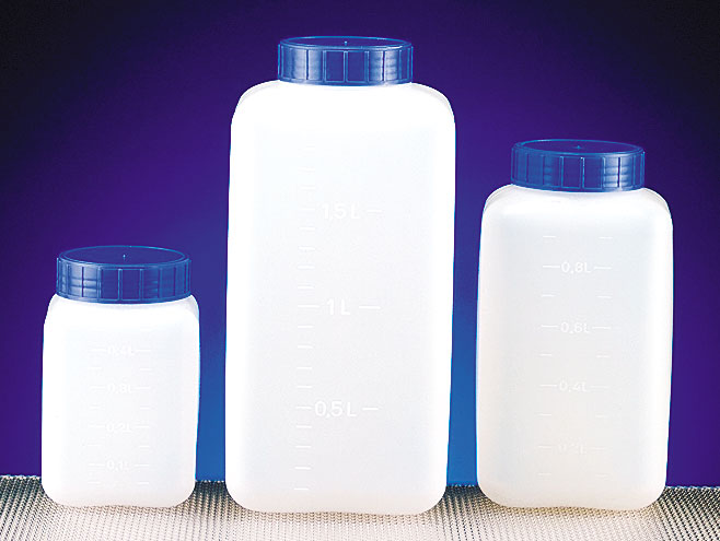 Natural HDPE Square Wide Mouth Bottles w/ Screw Caps